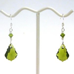 Sterling Silver Olive Swarovski Crystal Earrings